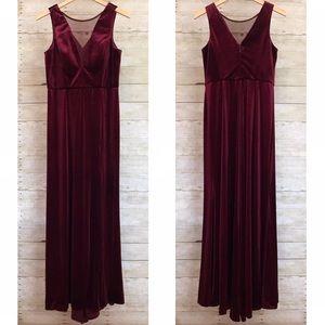Macy's Nightway Wine Red Velvet Floor Length Gown